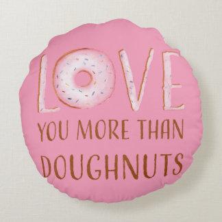 De roze Liefde van de Doughnut Rond Kussen