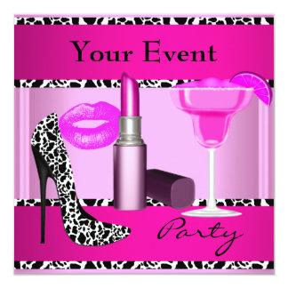 De Roze Lippenstift van de Schoenen van de 13,3x13,3 Vierkante Uitnodiging Kaart