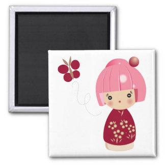 De roze Magneet van het Drietal Kokeshi