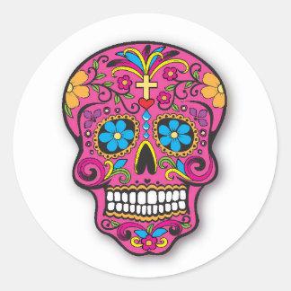 De roze Mexicaanse Dag van de Schedel van de Ronde Sticker