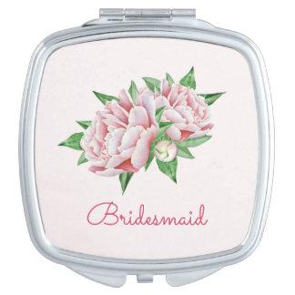 De roze Mooie Waterverf van Pioenen Make-up Spiegeltje