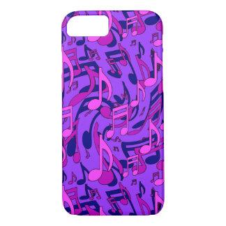 De Roze Muzieknoten van het paarse Patroon van de iPhone 8/7 Hoesje