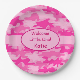De roze Naam Camo personaliseerde het Nieuwe Papieren Bordje