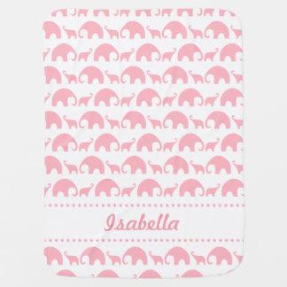 De roze Olifant Gepersonaliseerde deken van het Inbakerdoek