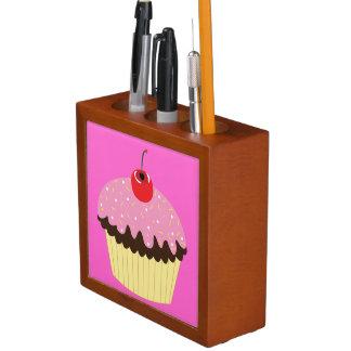 De roze Organisator van het Bureau Cupcake Pennenhouder