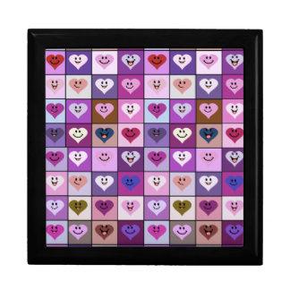 De roze & Paarse Vierkanten van het Hart Smiley Decoratiedoosje