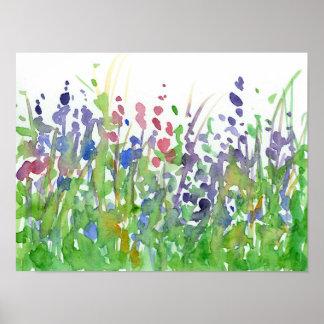 De roze Paarse Waterverf van de Weide Wildflower Poster