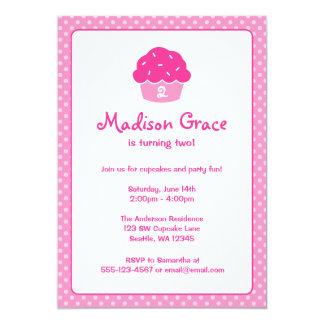 De roze Partij van de Verjaardag van de Stip 12,7x17,8 Uitnodiging Kaart