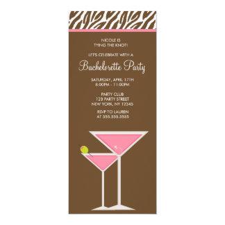 De roze Partij van de Vrijgezellin van Martini 10,2x23,5 Uitnodiging Kaart