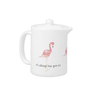 De roze Persoonlijke Theepot van de Flamingo