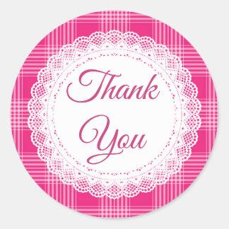 De roze Plaid dankt u Stickers