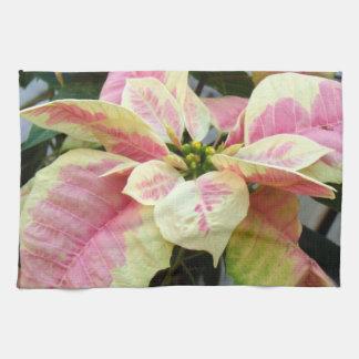De roze Poinsettia van de Room Theedoek