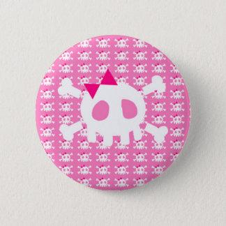 De Roze Punk Schedel van Girly Ronde Button 5,7 Cm