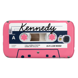 De roze Retro Band van de Cassette Galaxy S4 Hoesje