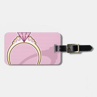 De roze Ring van de Diamant Bagagelabel