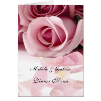 De Roze Rozen van het Menu van het huwelijk Wenskaart