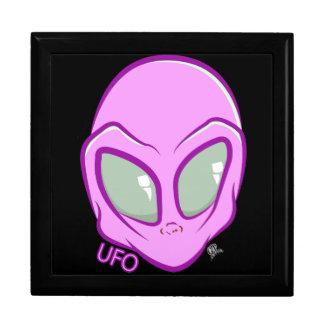De roze Ruimte van de Marsbewoner van het UFO Vierkant Opbergdoosje Large