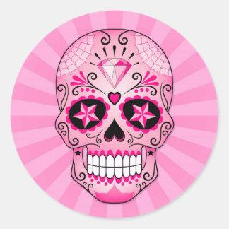 De roze Schedel van de Suiker van de Diamant Ronde Sticker
