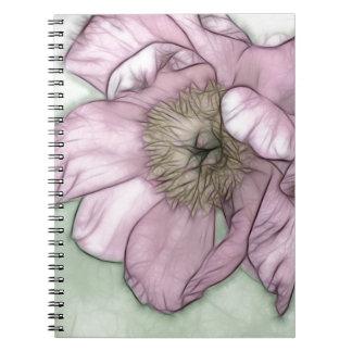 De roze Schets van de Bloem van de Pioen Notitieboek