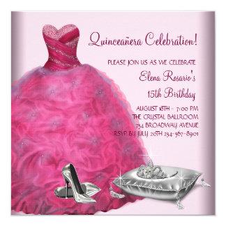 De roze Schoenen Roze Quinceanera van de Hiel van 13,3x13,3 Vierkante Uitnodiging Kaart