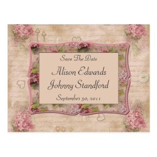 De roze Seringen bewaren de Datum Briefkaart