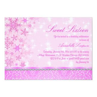 De roze Sneeuwvlok Sweet16 van de Fonkeling nodigt 12,7x17,8 Uitnodiging Kaart