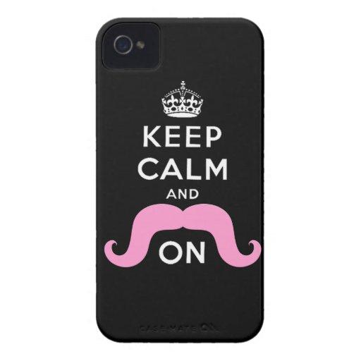De roze Snor houdt Kalm draagt iPhone 4 Case