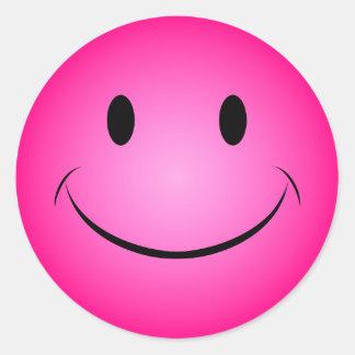 De roze Sticker van het Gezicht Smiley