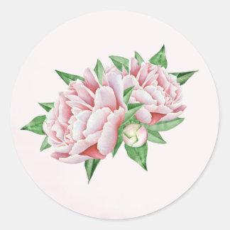 De roze Stickers van de Pioen