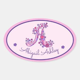 De roze stickers van een de naamidentiteitskaart