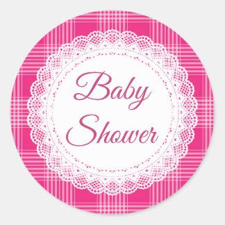 De roze Stickers van het Baby shower van de Plaid