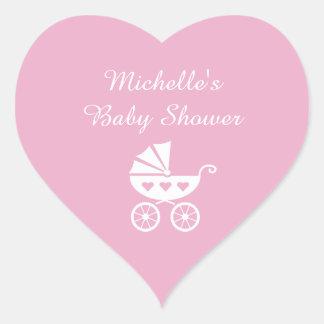 De roze stickers van het hartbaby shower met