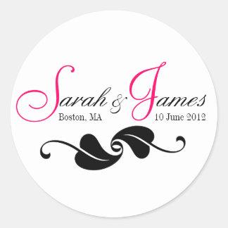 De roze Stickers van het Huwelijk van de Plaats