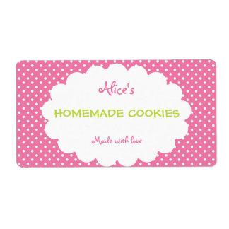 De roze Stip personaliseerde Eigengemaakte Koekjes Etiket