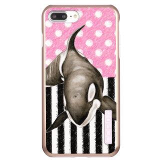 De roze stip van de Walvis van de orka Incipio DualPro Shine iPhone 8/7 Plus Hoesje