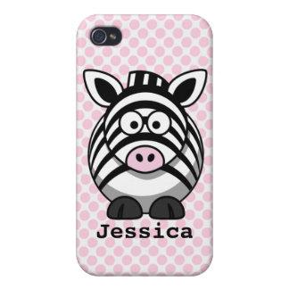 De roze Stippen personaliseerden Leuk Zebra iPhone 4/4S Hoesje
