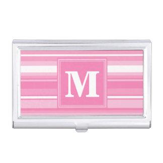 De roze strepen van het monogram visitekaartjes mapje