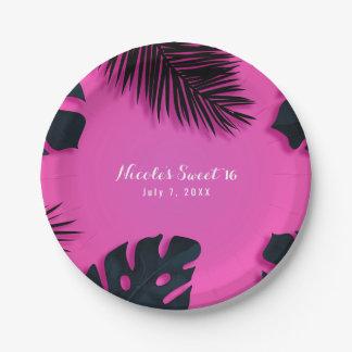 De roze Tropische Elegante Zomer van de Partij van Papieren Bordje