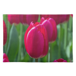 De roze tulpen sluiten omhoog placemat