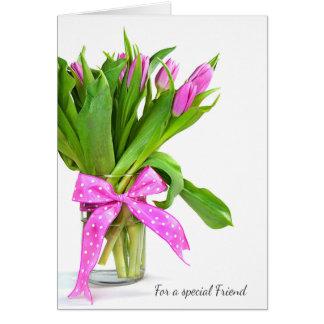 De Roze Tulpen van Valentijn voor Vriend Briefkaarten 0