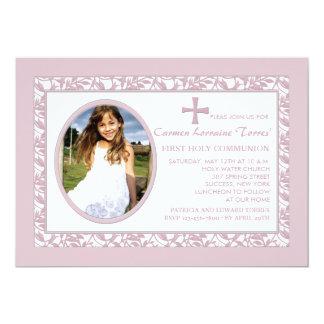 De roze Uitnodiging van de Foto van de Bezinning 12,7x17,8 Uitnodiging Kaart