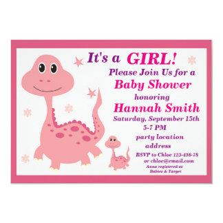 De roze uitnodiging van het dinosaurusbaby shower