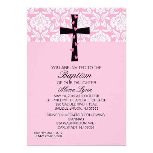 De roze Uitnodiging van het Doopsel van de Meisjes