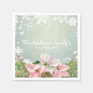 De roze Vakantie van Poinsettia Wegwerp Servetten