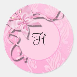 De roze Verbinding van het Huwelijk van de Vlinder Ronde Sticker