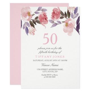 De roze Verjaardag van de Waterverf vijftigste van Kaart
