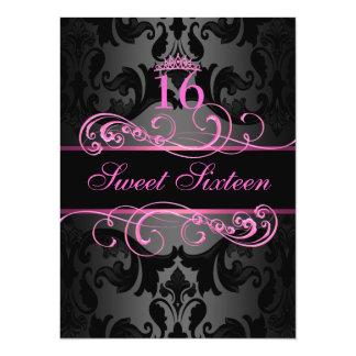 De roze Verjaardag van het Damast Sweet16 van de 13,9x19,1 Uitnodiging Kaart