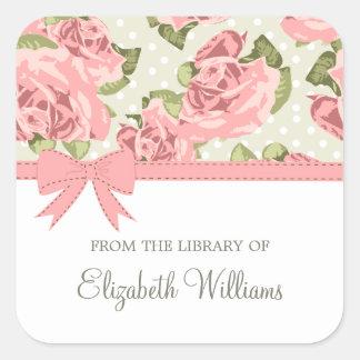 De roze Vintage Rozen van het Lint Vierkante Sticker