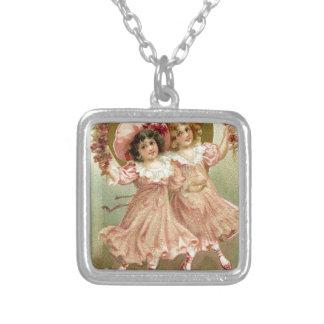 De roze Vintage Vriendschap van de Valentijnsdag Ketting Vierkant Hangertje