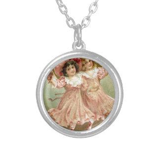 De roze Vintage Vriendschap van de Valentijnsdag Zilver Vergulden Ketting